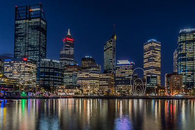 Perth's City skyline at night.