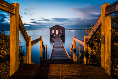 Crawley Edge Boatshed at the break of dawn.