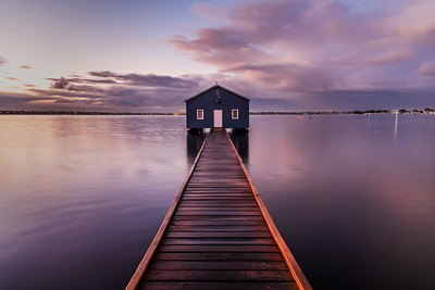 Crawley Edge Boatshed at dawn.