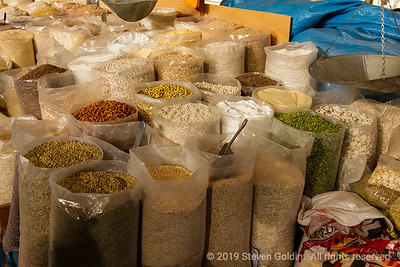Grains and beans for sale in the market
