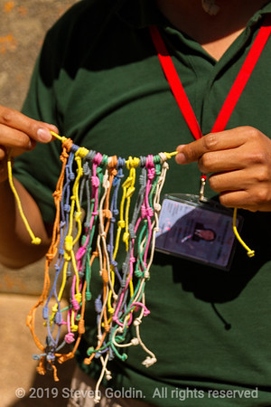 Ollantaytambo, Kipu.  Used as a record keeper.  Knots and the turns in the knots represent numbers in decimal form.  Each color and string represents something else.