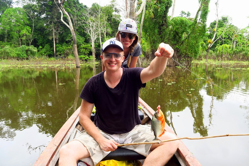Fishing for piranhas in the Amazon River