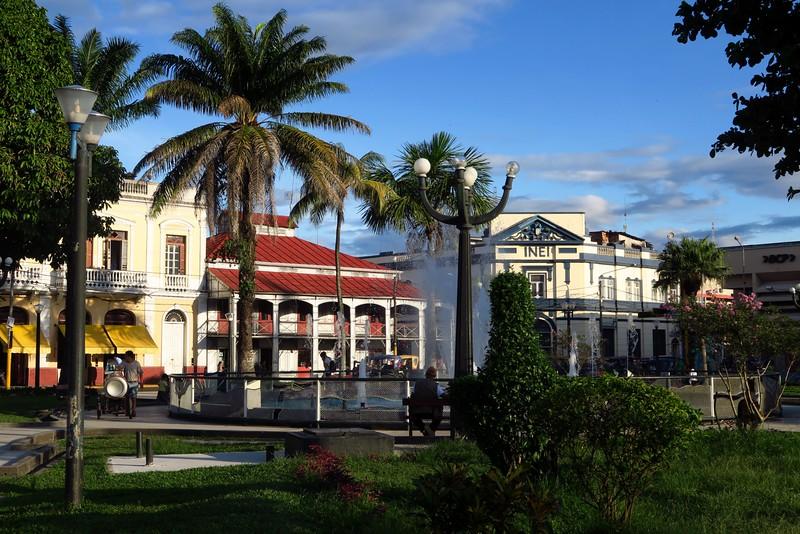 Visiting Plaza de Armas in Iquitos, Peru