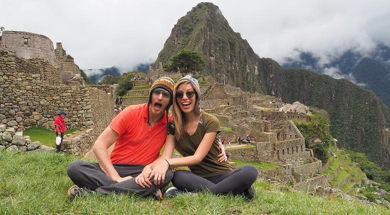 Visiting Machu Picchu.