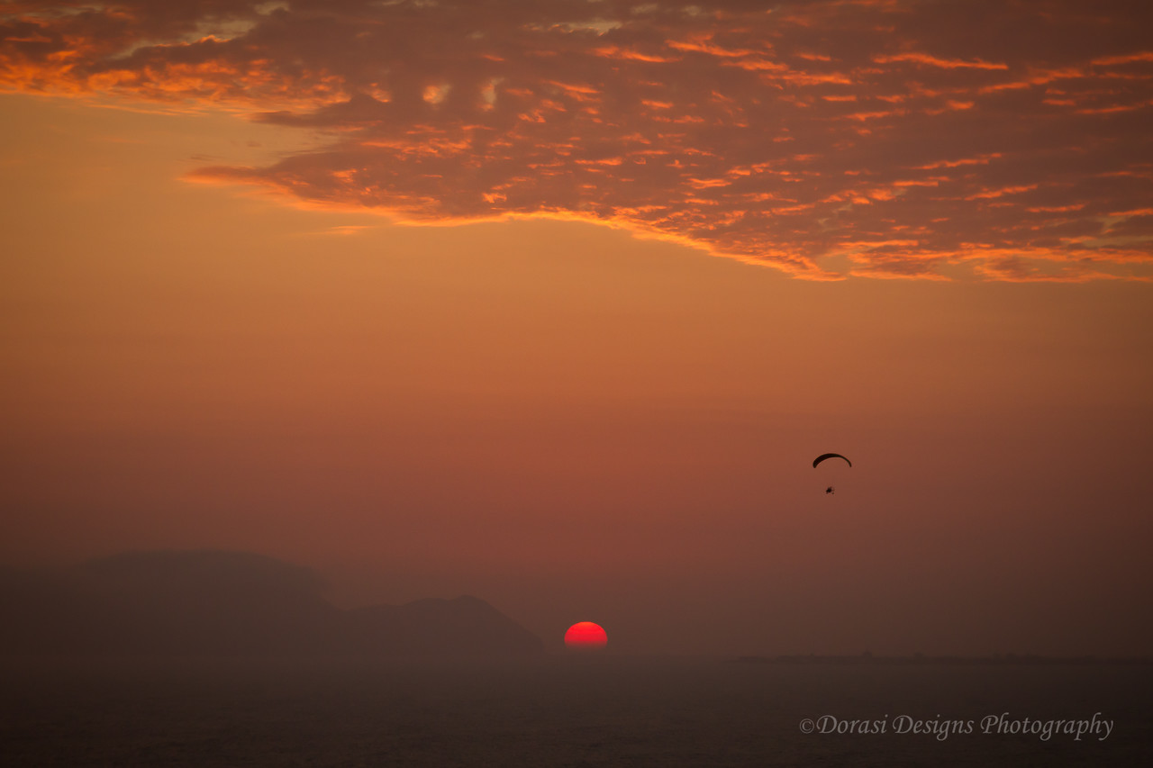 Sunset glider over  the bay in Lima Peru