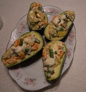 Stuffed Avocado.  Freshly prepared & ready to eat.  Lima, Peru