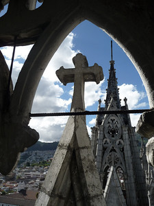 As you climb up the bell tower and into the spire, you have insane views of the other bell tower, as well as all of Quito.