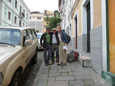 Getting ready for our adventure.  Washington picks us up outside our hostel in Quito.  Love that mid-80's Toyota Land Cruiser.  Some door and window handles were missing inside, but it got us 2 hrs to Tambo Paxi and back!