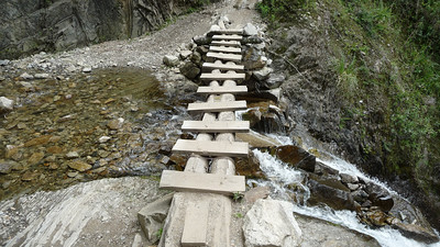 A brand spanking new bridge.   Many were not nearly this sturdy or intact.
