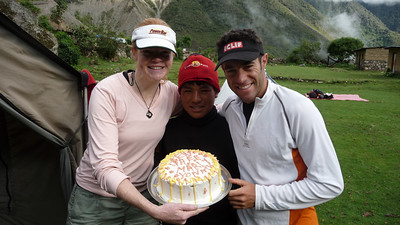 The crew baked us a cake on our last morning. How the heck they did that in the middle of nowhere is still a mystery.  The food was amazingly good the whole trek.