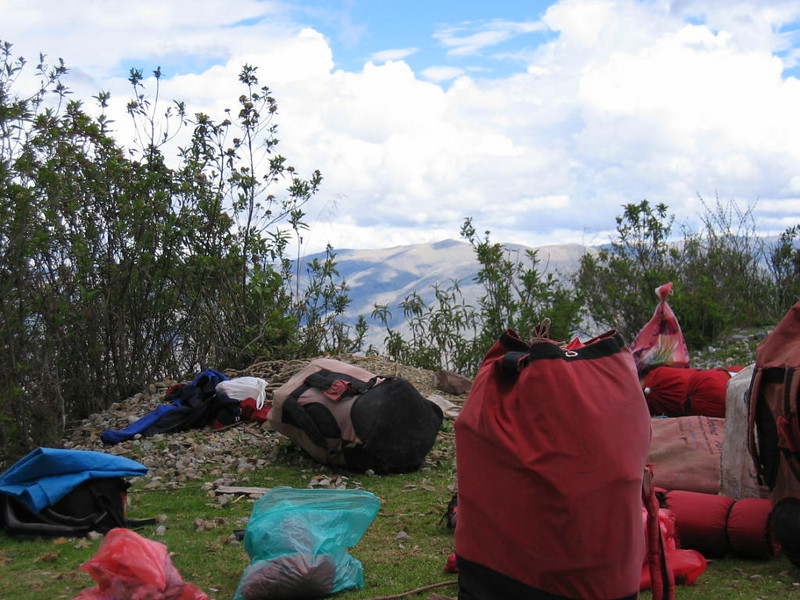 Packs strewn about at our first lunch break, 11,000 ft elevation.    Dinner was at 12,500 ft  btw.  It only went up from there!