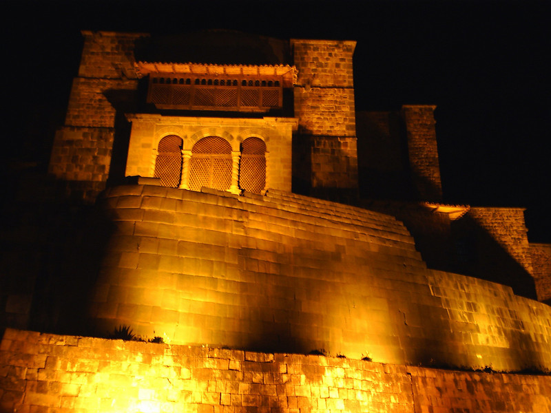 Night lights in Cusco, temple of Coricancha.