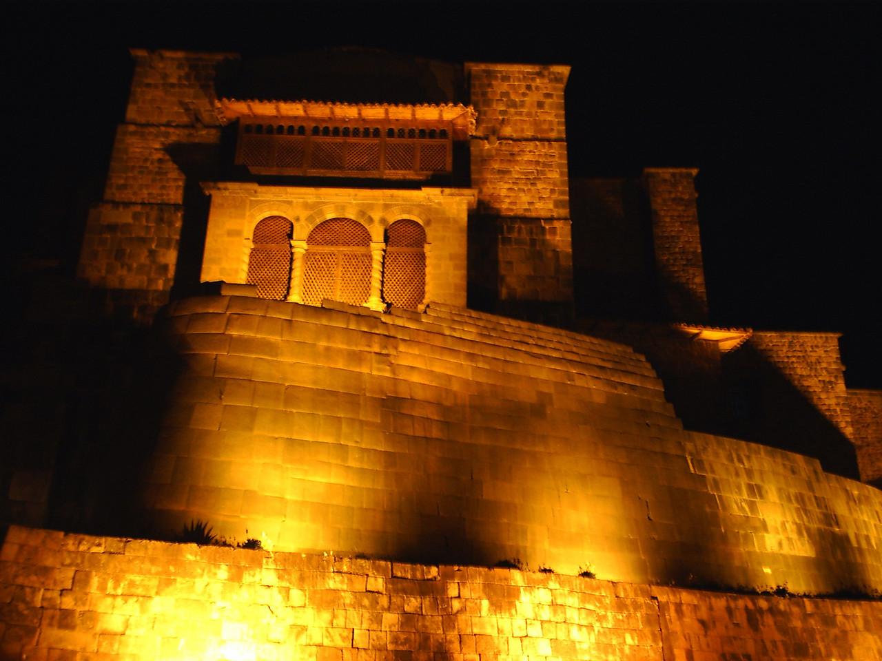 Night lights in Cusco, temple of Coricancha.