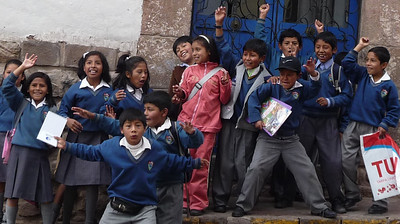 Children loved us.  Here's the greeting we got outside our travel agency on the morning we left for the Sacred Valley.
