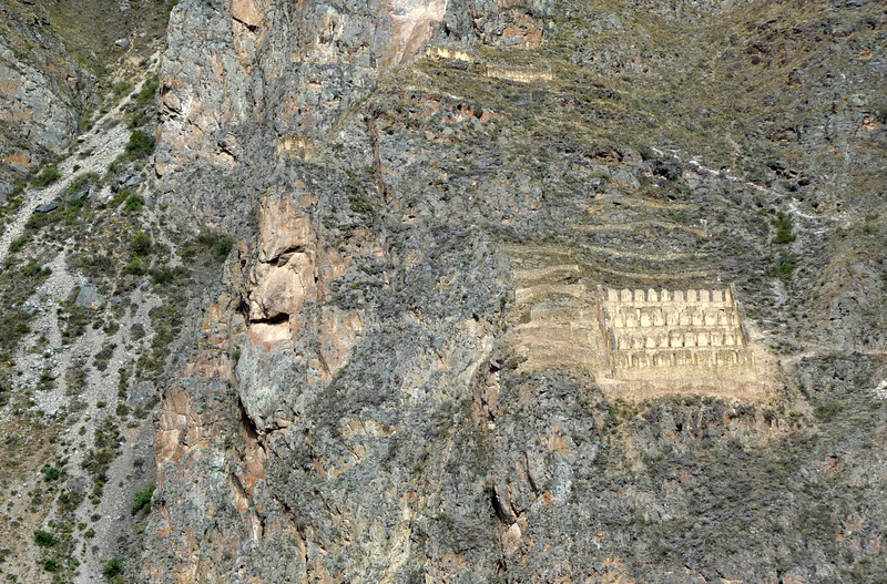 Natural rock formation in the mountainside at Ollantaytambo, believed by the ancient tribe to be the image of their overlord, Wiracocha, responsible for everything in their world.