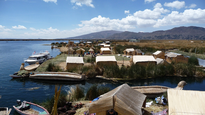 Whole villages float on the man-made islands.  Reeds are the basis of their existence - housing, boats, tools, boats, even the islands themselves!