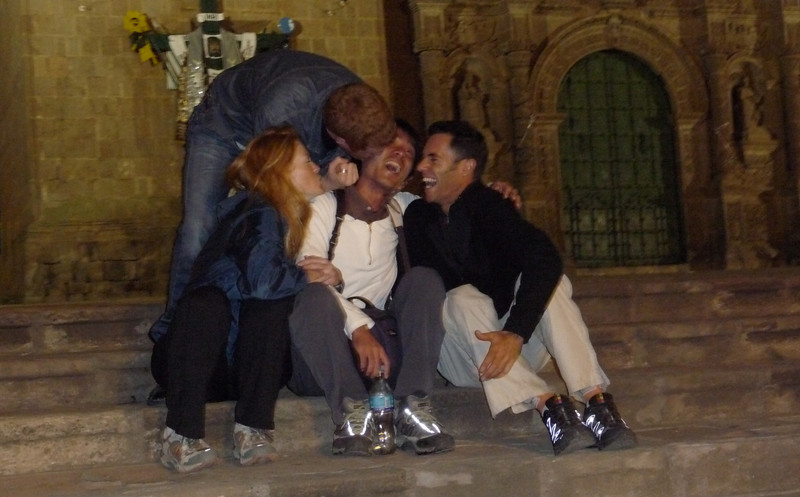 Feel the love.   Nothing like early morning hours on the steps of a cathedral after a night at the bars in Puno.