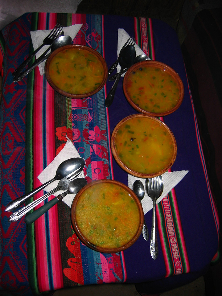 The meal was incredibly delicious.  Quinoa soup to start with.
