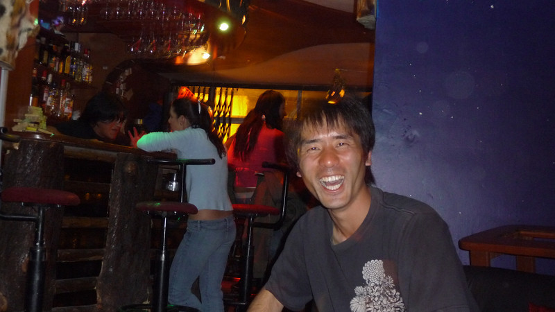 Koji from Tokyo part of our crew in Puno, was lit up like a flashbulb.  We pretended it was his birthday.