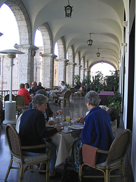 Balcony dining area of our hotel. I had some mild symptoms of altitude sickness here