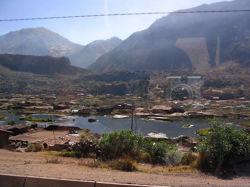 Tile-making village quite close to Cusco, seen through the coach window