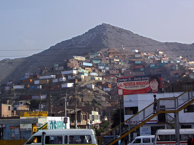 Lima's shanty towns, seen from the coach
