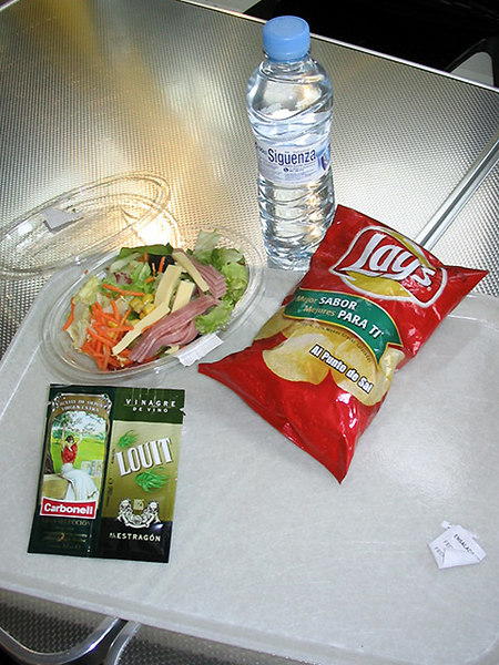 Fast food salad in Madrid was very sophisticated - it came with sachets of olive oil and wine vinegar