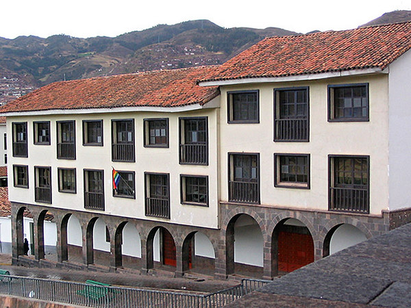 Cook's agents had booked space for us in the windows of this school to view the first part of the ceremony, at the Temple of the Sun in Cusco. <i>[Photo taken the next day]</i>