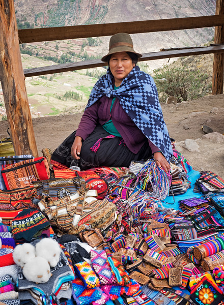 Woman selling her wares at the Pisac archeological site.