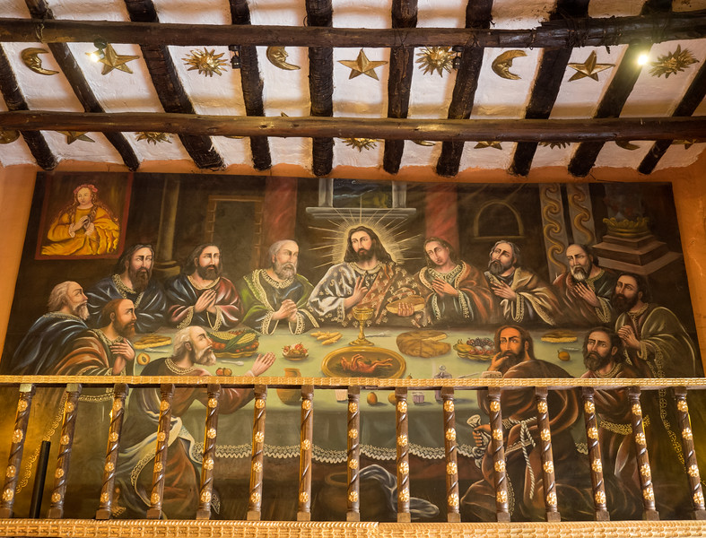 The original of this Last Supper painting is in a cathedral in Cusco where photos aren't allowed.  This reproduction is in a Cusco restaurant.  Note the main course on the platter in front of Jesus -- a roasted guinea pig, which has been a favorite dish of the Andean people since pre-Christian times.