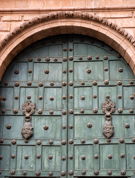 The door to a cathedral in Cusco.