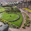 "The grounds of the Qoricancha Sun Temple (now the Santo Domingo Convent) in Cusco, Peru -- lawn is ""carved"" in the shape of a condor, a puma, and a snake."