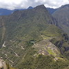 View of Machu Picchu from Wana Picchu. (Bus road to hotel and entrance of Machu Picchu seen on the side of the hill.)