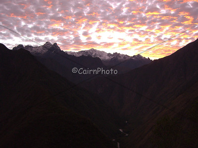 Sunrise at Winay Waya, the last campsite before heading to Machu Picchu.