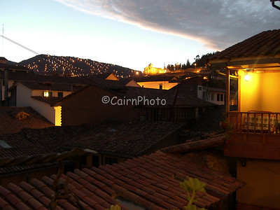 This is Cusco at night from the Amaru Hostel.