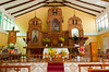 Interior sanctuary of the church in Agua Calientes, Peru, South America.