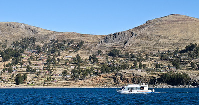 Finally arriving at  Amantani Island - about 3 hours by boat from Puno in Lake Titicaca