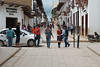 Schoolgirls fancing their uniforms during busy afternoon in Chachapoyas town. Walking form one little shop to another, gangs of school girls buy cheap sweets and enjoy the end of a study day.
