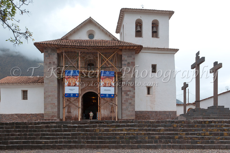 The exterior of the Church of the Apostle San Pedro in Andahuaylillas, Peru, South America.