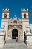 Exterior of the Cayma Church building in Arequipa, Peru.