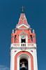 The steeple and bell tower of the La Recoleta Church in Arequipa, Peru, South America.