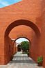 Interior courtyards and architecture of the Santa Catalina Monastery in Arequipa, Peru, South America.