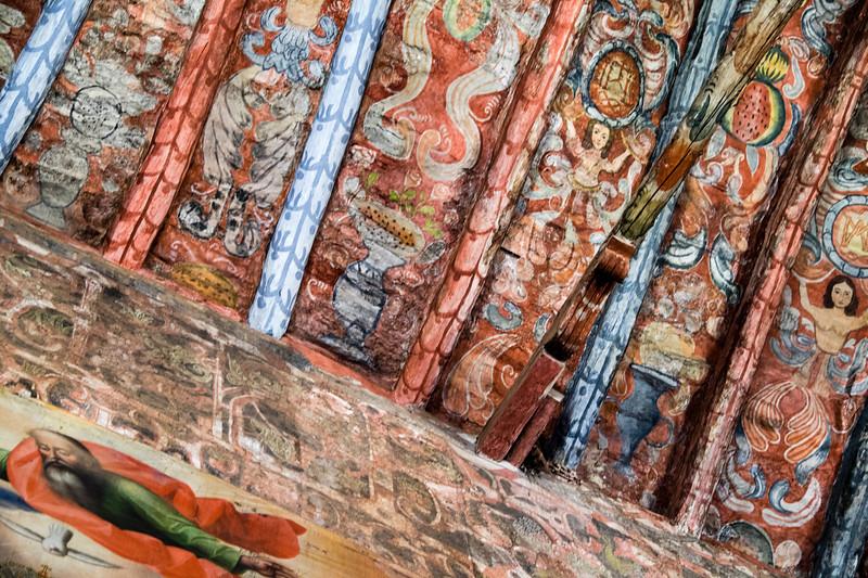 peru, sacred valley, chinchero, iglesia de chinchero, colonial church, naive paintings