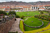 Exterior gardens at the Inca Sun Temple in Cusco, Peru, South America.