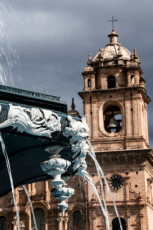 peru, cusco, plaza de armas, architecture, colonial church, fountain