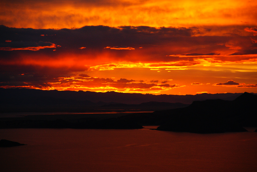 Firey Sunset at Puno Lake Titicaca, Peru
