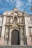 The ornate door and facade of the Basilica Cathedral of Lima, Peru, South America.