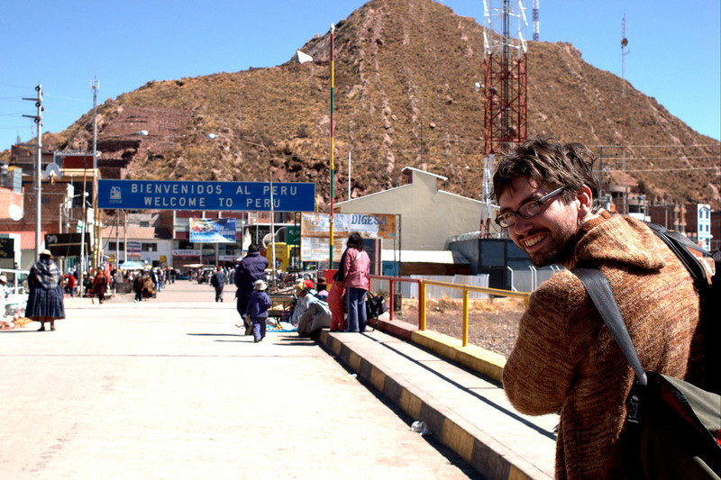 Yann happily crossing the border to Peru and then getting the royal treatment from the ASSHOLE border guards.