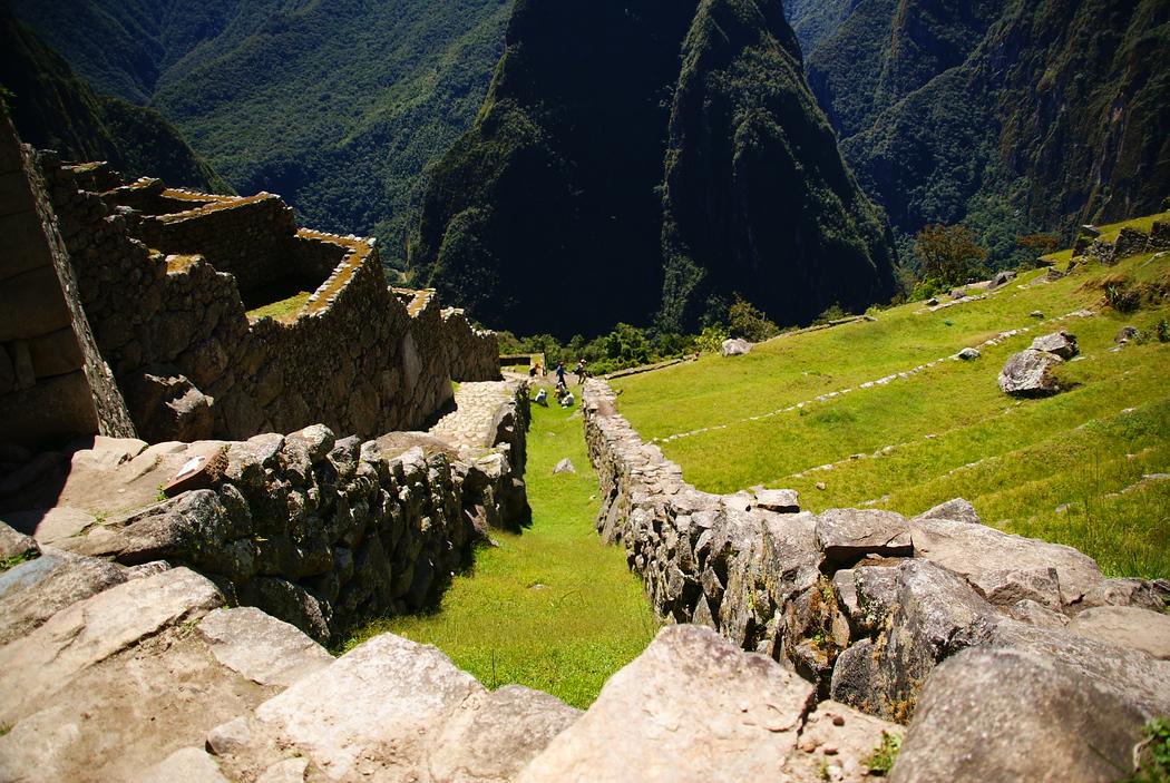 Stones steps of Machu Picchu, Peru.  This is a travel photo from Machu Picchu, Peru.