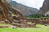 The archaeological ruins of the fortress in Ollantaytambo, Urubamba Valley, Peru, South America.